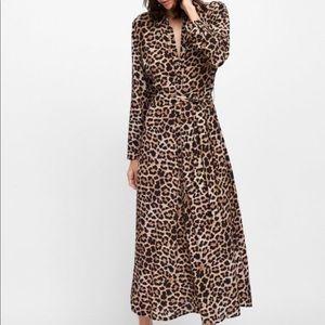 zara • leopard print button up shirt dress • L